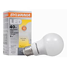 SYLVANIA, 40W Equivalent, LED Light Bulb, A19 Lamp, 1 Pack, Soft White, Energy Saving & Longer Life, Value Line, Medium Base, Efficient 6W, 2700K
