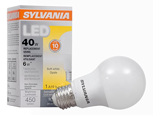 SYLVANIA, 40W Equivalent, LED Light Bulb, A19 Lamp, 1 Pack, Soft White, Energy Saving & Longer Life, Value Line, Medium Base, Efficient 6W, 2700K (Line Lights Led)