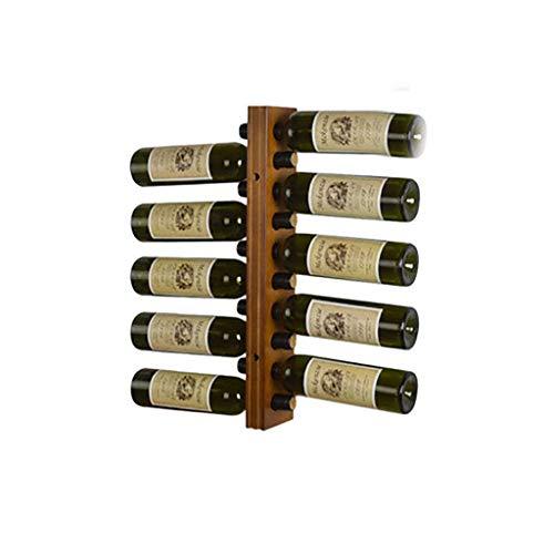 GCM Bottles Wine Rack Wall-Mounted Solid Wood Dark I Vertical Wine Holder Storage and Display Shelf for Kitchen Wine Cellar Bar (Color : 55104.2cm(2))