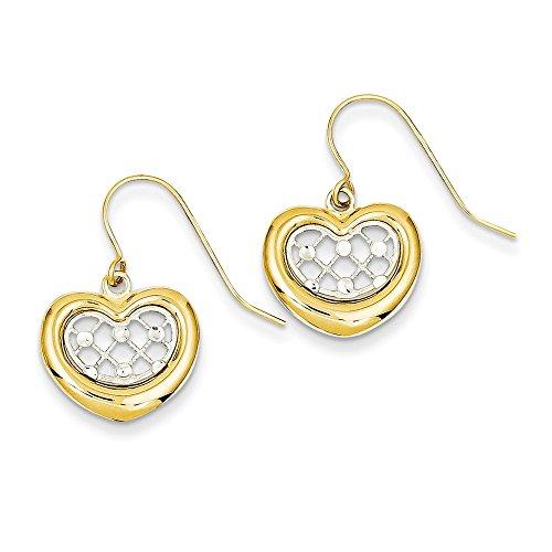 14k Two Tone Yellow Gold Heart Drop Dangle Chandelier Earrings Love Fine Jewelry Gifts For Women For Her ()