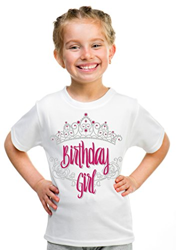 Birthday Girl Princess | Princess Party Tiara B-Day Top Girly Unisex T-shirt - (Youth,L),White Birthday Top