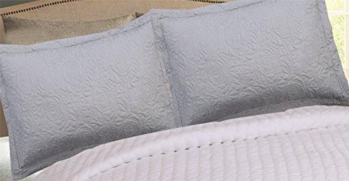 MarCielo 2-Piece Embroidered Pillow Shams, Decorative Microfiber Pillow Shams Set Standard Size (2 Piece Pillow Set)