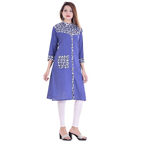 Chichi Indian Women Kurta Kurti 3/4 Sleeve Medium Size Plain with Printed Border Straight Blue Top by CHI