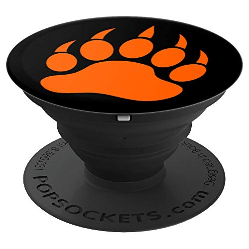 (Orange, Bear Paw, Black Brown Grizzly Panda Bear Claw, Cool - PopSockets Grip and Stand for Phones and Tablets)