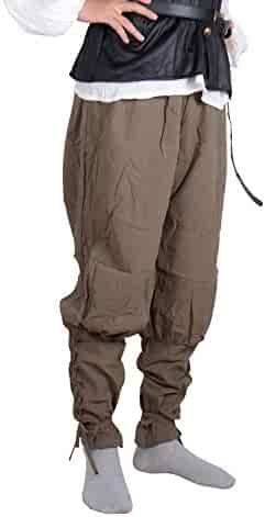 Hestenve Mens Vintage Medieval Pants Pirate Cosplay Costumes Halloween Viking Renaissance Trousers