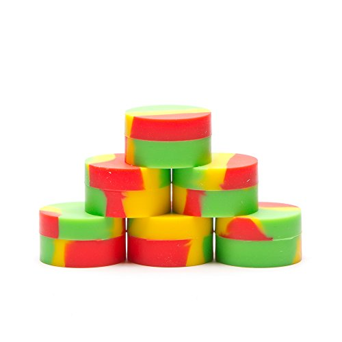 Rasta Single (6 NoStik Silicone Containers - Premium Rasta Containers - Free Magnet in Every Box)