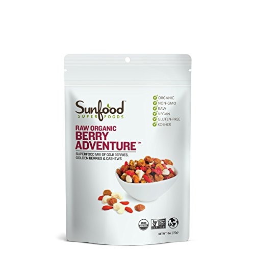 Sunfood Superfoods Berry Adventure Raw Organic Trail-mix. Blend of Goji Berries, Golden Berries & Cashews. Healthy Snack. 6 oz Bag