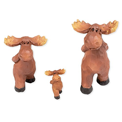 Slifka Sales Co. Set of 3 Moose Family Strolling 4 x 4 x 2 Inch Resin Crafted Tabletop Figurine