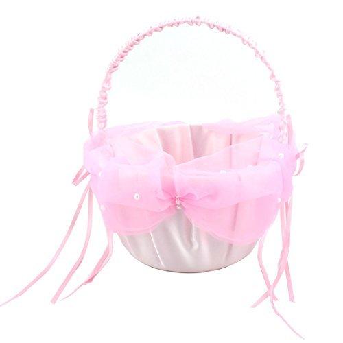 eDealMax Partido de Novia de Raso Bowknot de perlas de imitacin de la decoracin de DAMA de ptalos de la Flor rosada de la cesta del almacenaje