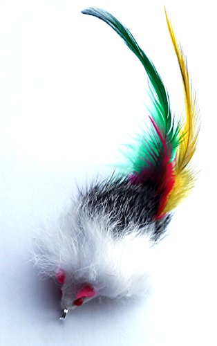 Kats'N Us Cat Wand Refill - Real Rabbit Fur Mouse with Feather -