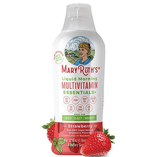 Immunity Morning Liquid Multivitamin + Zinc + Elderberry + Organic Whole Food Blend by MaryRuth's (Strawberry) Vitamin A B C D3 E Trace Minerals & Amino Acids 100% Vegan – Men Women Kids 0 Sugar 32oz