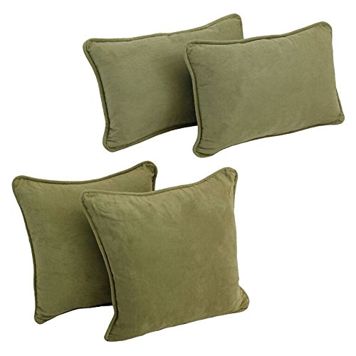 Blazing Needles 9819-S4-CD-MS-SG Double-Corded Solid Microsuede Throw Pillows with Inserts, Sage Green, Set of 4 ()