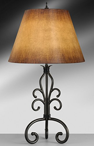 Complements Lighting Paradiso 30 inch 150 watt Spearhead w/Black Leather Table - Table Iron Lamp Leather