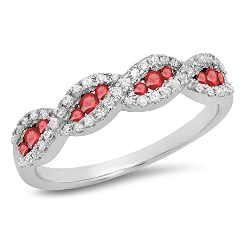 10K White Gold Round Ruby & White Diamond Bridal Stackable Wedding Band (Size 7)