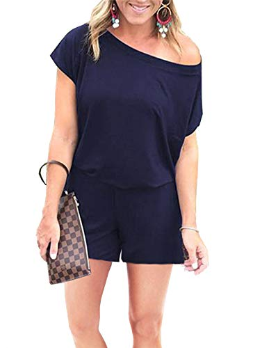 PRETTYGARDEN Women's Summer Casual Off Shoulder Short Sleeve Loose Jumpsuit Rompers with Pockets (Navy, Medium)