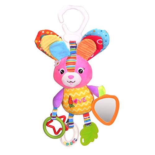 Dmeixs Hanging Stroller Toys, Infant Teether Toys Squeaker Crinkly Ear,Baby Stroller Toys Colorful Car Seat Rattle Toys,Rabbit Toys Stroller,Car Seat,Infant Bed by Dmeixs