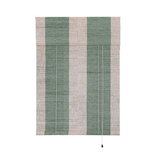 (Liveinu Handmade 100% Ramie Linen Window Blinds Roller Shades Curtain Drape Stripe Pattern Green 12