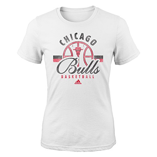 Nba By Outerstuff Nba Chicago Bulls Girls Classic Basketball Arch Short Sleeve Tee  Small  7 8   White