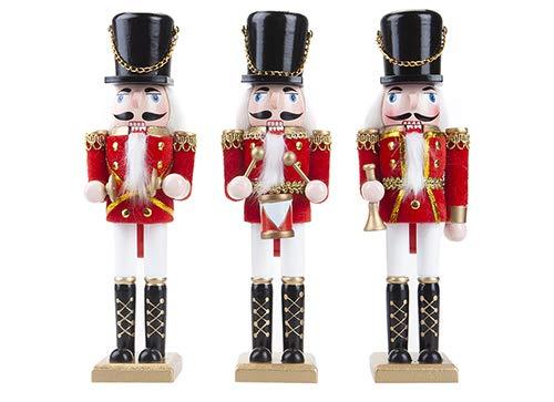 Toyland/® 10 1 Scelto a Caso Decorazioni Natalizie Tradizionali 25 cm Classico Dipinto a Mano in Legno Schiaccianoci Soldier Ornament