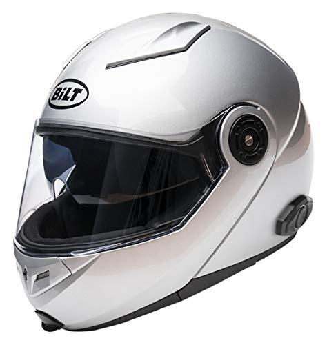 Bilt Techno 2.0 Sena Bluetooth Modular Helmet - LG - Silver