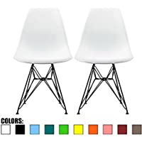 2xhome - Set of Two (2) - White - Eames Style Side Chair Black Eiffel Base Dining Room Chair - Lounge Chair No Arm Arms Armless Less Chairs Seats Black Wire Legs