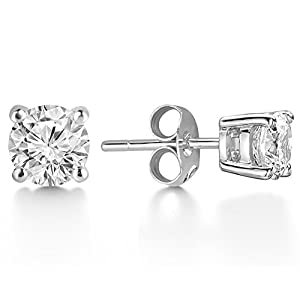 J. Fée Christmas Gifts! 925 Sterling Silver 6mm Swarovski Crystals Stud Earrings with 2 Pairs of Earring Backs - [Gift Packaging] Ideal Christmas Gifts