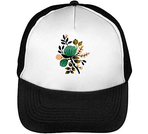 Snapback Hombre Gorras Negro Beisbol Garden Flowers Blanco wv1xtt