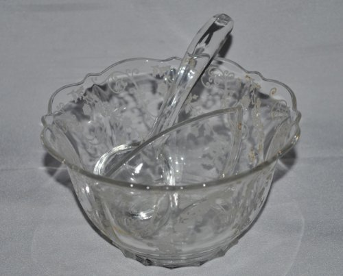 Cambridge Chantilly Etched Floral Clear Divided Round Condiment / Relish Bowl with Spoon Cambridge Etched Glass