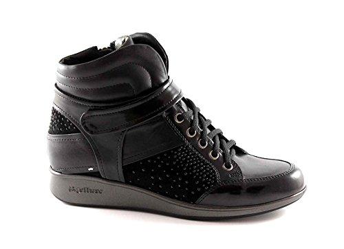 MELLUSO WALK r0021 black women sports shoes laces zip mid sneakers KIIeMlE2P