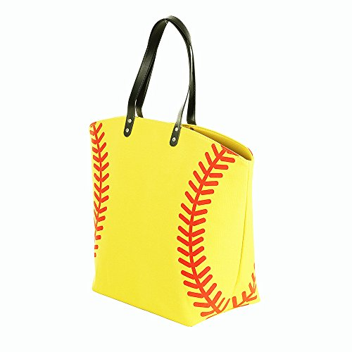 E-FirstFeeling Large Baseball Tote Bag Sports Prints Tote (Softball) by E-FirstFeeling