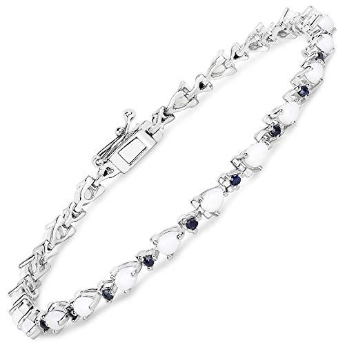 Bonyak Jewelry Genuine Pears Opal and Blue Sapphire Bracelet in Sterling ()