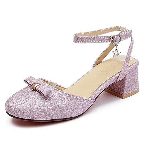 Bomba Purple Poliuretano Rosa Verano Tacón ZHZNVX PU de Grueso Zapatos Tacones Plata de de Mujer básicos Púrpura AxwUB0