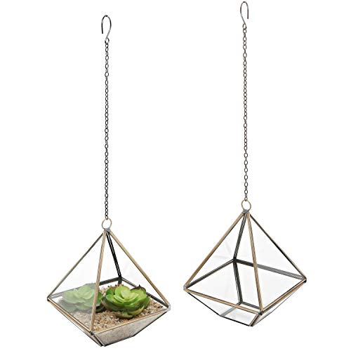 MyGift 5-Inch Hanging Glass Metal Frame Pyramid Terrarium Planter, Set of 2