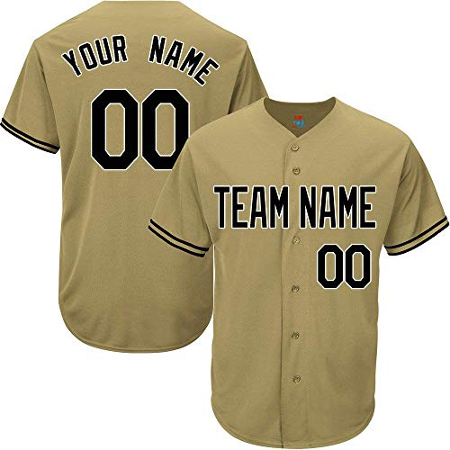 Gold Custom Baseball Jersey for Men Women Youth Game Embroidered Team Player Name & Numbers S-5XL Black White