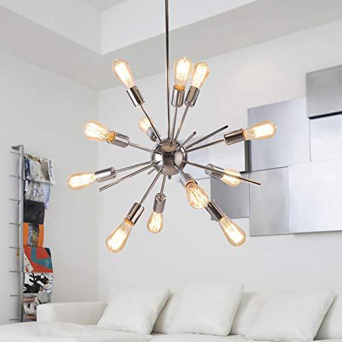ALHAKIN Modern Sputnik Chandelier 12 Lights Pendant Lighting Polish Chrome Hanging Vintage Ceiling Light Fixture [UL Listed] ()