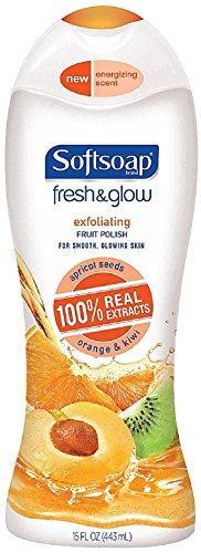 Softsoap Fresh & Glow Exfoliating Fruit Polish Body Wash 15 oz (Pack of 6)