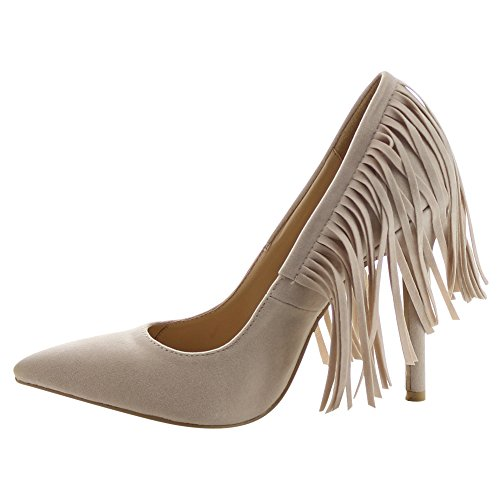 CHASE & CHLOE PLAZA-5 Womens Pointed Toe Fringe Stiletto Heel Dress Pumps, Color:NUDE, Size:7.5