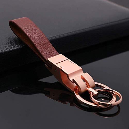Mehr Platinum Series Luxury Valet Key Chain - Simple, Elegant, Durable Multi-Ring Key Holder - Useful Keychain (Gold-Brown)