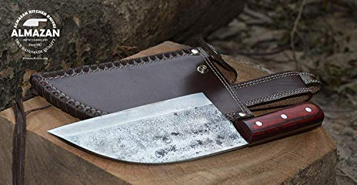 Official Original Hand Forged Almazan Chef Kitchen Knife with Leather Sheath (Kitchen Knives Handmade)