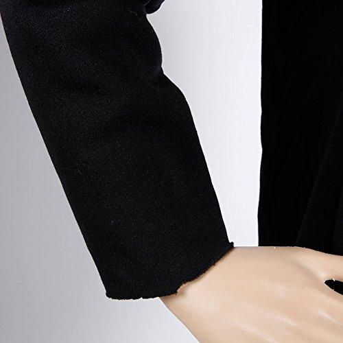 Boodtag Femmes À Col Roulé Capuche Blouses Irrégulières Hauts Solides Pullovers Noir D'hiver