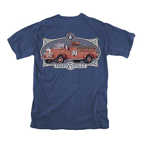 Fripp & Folly Men's T-shirt SS Vintage Fire Truck Navy Large
