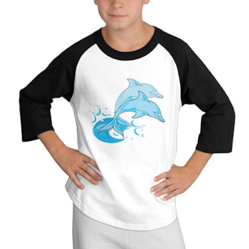 MULTY9 Two Dolphin Jumping Out Of Water Child Youth 3/4 Sleeve T Shirts X-Large