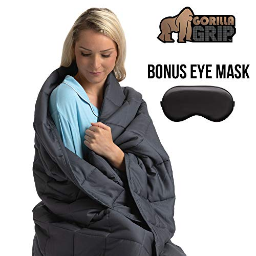 (Gorilla Grip Premium Weighted Blanket (80x60 Size, 20 Lb Weight) Bonus Eye Mask, Recommended for Adults 200 Lbs & Up, Oeko Tex Certified, Luxury Cotton, Glass Beads, Soft & Comforting (Gray))