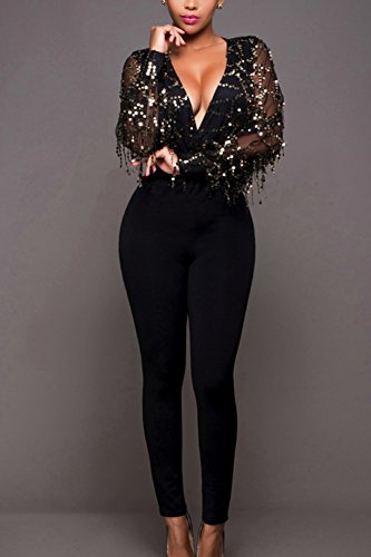 anders 2019 Neupreis Rabatt Zilcremo Damen Sequins Glitzer Jumpsuits Pailletten Slim Fit ...