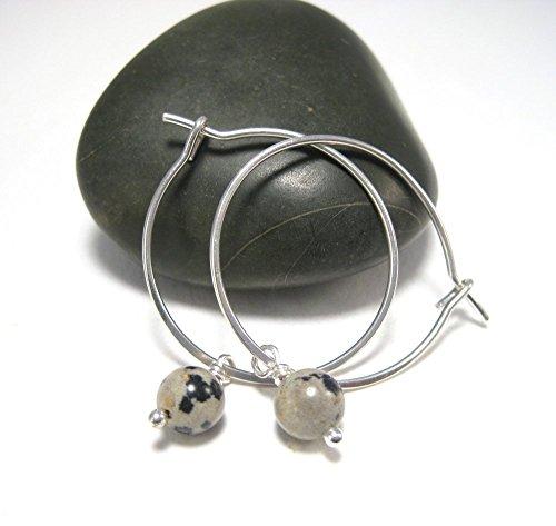 Dotted Hoop - Dalmation Jasper Earrings Silver Hoops with Polka Dot Bead