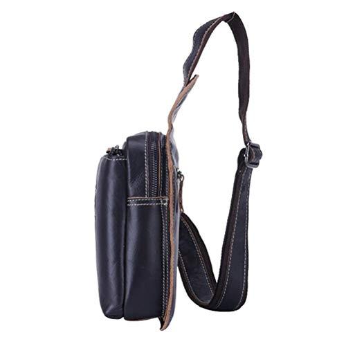 Pecho Casual Bolsa De Diseñador Negocio Casual Excursionismo Bolso Mensajero Bolsos Bags Mano Deporte A Bolsa De Hecho Daypack Café Piel Hombro Viajar Hombre Cruzados Sling Negro Genuina De T7ACqxaIw