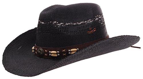 Hat Style Cowboy Black (Enimay Western Outback Cowboy Hat Men's Women's Style Straw Felt Canvas Western Black One Size)