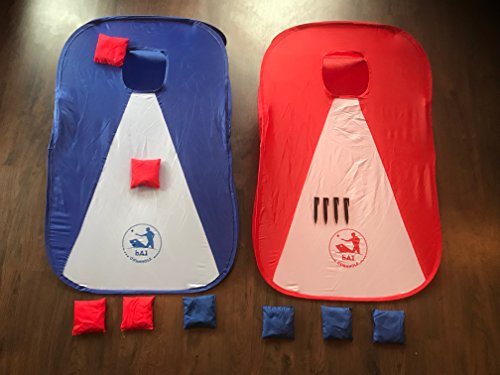 bA1 Cornhole - All Weather Collapsible Portable Cornhole Game Set - 2 Boards + 8 Beanbags + Carrying Case + Stakes (3' x 2') Now Play Anywhere, Anytime, even on the Go - Indoor or (College Washer Toss Game)