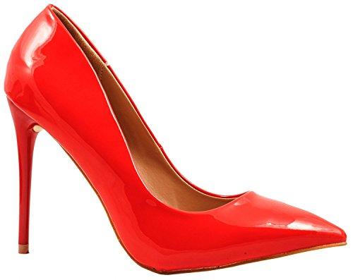 con vernice Elara comode con pump stiletto punta tacco Rot Paris moderne a scarpe tacco in wBx8TFq