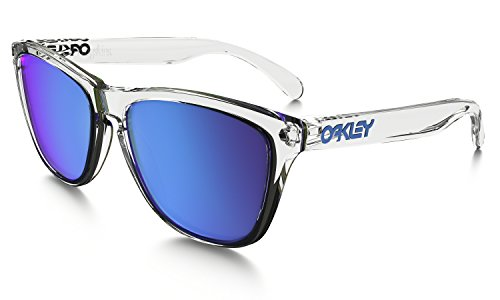 Oakley Frogskins Sunglasses Crystal Clear with Sapphire Iridium Lens + - Sunglasses Frogskin Oakley